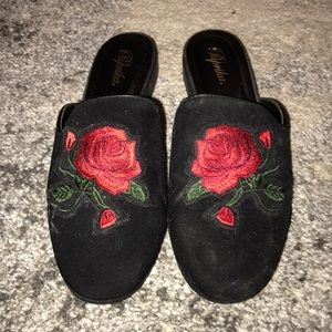 Black with rose suede loafers